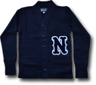LETTERED CARDIGAN NAVY